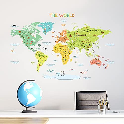 DECOWALL DWL-1616S Mappa del Mondo Colorato Adesivi da Parete Decorazioni Parete Stickers Murali Soggiorno Asilo Nido Camera da Letto per Bambini (Medio)(Ver. Inglese)…