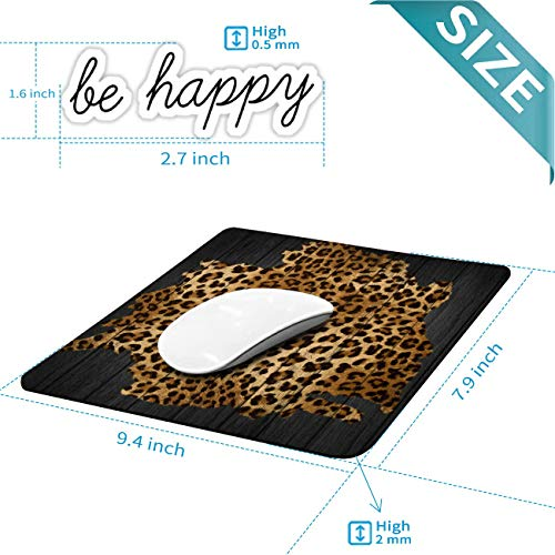 Gaming Mouse Pad, Leopard Grain Mouse Pads for Laptop Non-Slip Rubber Base Mousepad Computers and Office, Rectangle Cute Mouse Mats and Be Happy Computer Stickers Photo #3