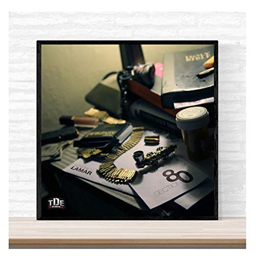 5Tdfc Kendrick Lamar Section 80 Music Album Cover Poster Print On Canvas Wall Art Home Decor for Living Room Decor Great Gift-50X50Cm No Frame