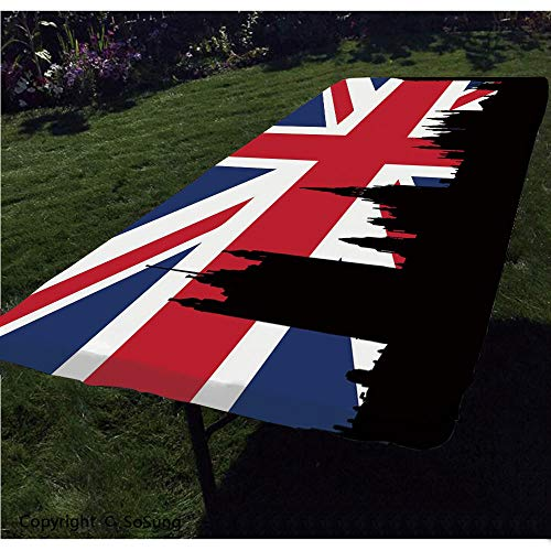 Union Jack Polyester Fitted Tablecloth,Houses of The Parliament Silhouette on UK Flag Historic Urban Skyline Rectangular Elastic Edge Fitted Table Cover,Fits Rectangular Tables 96x36 Royal Blue Black