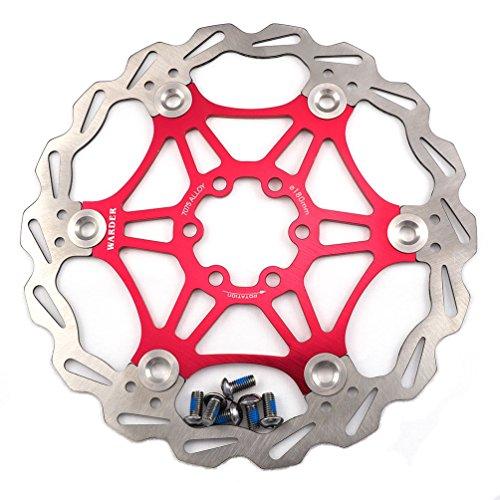 Freno de disco MTB, Bicicleta de Montaña 160mm 180mm 203mm flotante Freno disco rotores compatible con Shimano, Avid, Magura, Hayes, Tektro y muchos más (Rojo, 180mm)