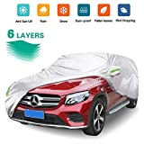 6 Layers SUV Cover Waterproof All Weather for Automobiles, Outdoor Full Cover Rain Sun UV Protection with Cotton, Universal Fit for SUV 190-199
