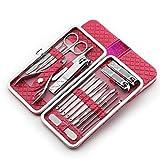 LONGLING Juego de cortaúñas, Juego de Belleza de manicura y pedicura multifunción de Acero Inoxidable de 18 Piezas, Kit de Aseo de Tijeras para uñas, manicura(Pink)