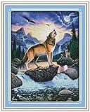Kit de punto deaguja Kit de bordado de tapiz Kit de inicio de bricolaje bordado preimpreso Incluye hilo de algodón de varios coloresAnimal Wolf 5776 (sin marco) -40X50CM