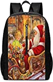 Mochilas Tipo Casual Mochilas de Marcha Santa Claus Theme 17 Inch School Bag Backpack College Bag Laptop Backpack Large Capacity Backpack (Black)