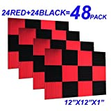 48 Pack Black red 1' x 12' x 12' Acoustic Wedge Studio Foam Sound Absorption Wall Panels