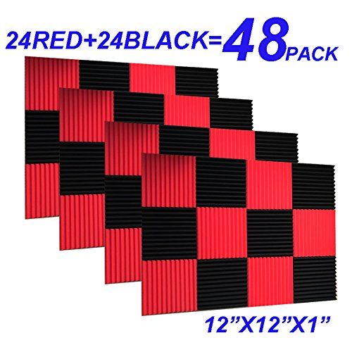 "48 Pack Black red 1"" x 12"" x 12"" Acoustic Wedge Studio Foam Sound Absorption Wall Panels"
