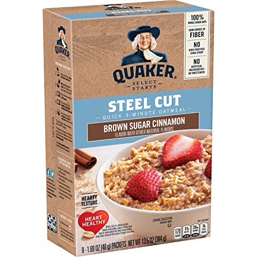 Quaker Steel Cut Quick 3-Minute Oatmeal, Brown Sugar & Cinnamon, Individual Packets, 48 Count