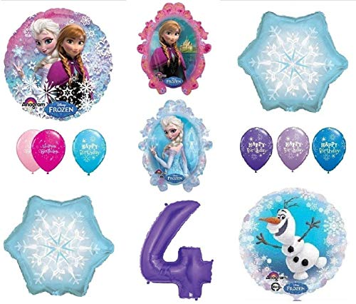 LoonBalloon FROZEN Anna ELSA OLAF Snowman Snowflake 4th #4 (12) Birthday Party Balloons Set by LoonBalloon