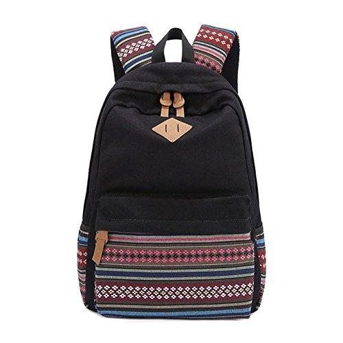 Evay Canvas Rucksack Vintage Bunte Streifen Schule Tasche für Jugend Teenager Mädchen und Jungen Leichte niedlichen wasserdicht casual Daypack hält 14 Zoll Laptop Schule Schultertasche Rucksack Schwarz