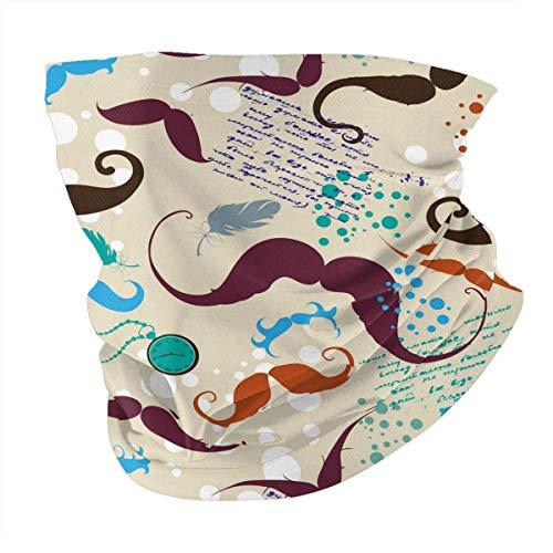 Tzshak Moustache Guidon Moustache Vintage Menthe Coupe-Vent Chapeaux Bandeau écharpe Masque Facial Lavable poussière Cou Bandana Masque Cagoule