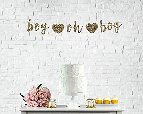 Pancarta de revelación de género con texto en inglés'Boy Oh Boy', decoración de baby shower'