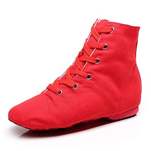 YOYODANCE Soho Canvas Schnürschuhe Tanzschuhe Flach Praxis Schwarz Rot Jazz Tanzschuhe für Herren Damen, Rot (rot), 41 EU