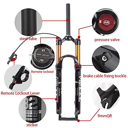 Bolany Mountain Bike Front Fork,26/27.5/29 inch Air Mountain Bike Suspension Fork Suspension MTB Gas Fork 100mm Travel Straight/Tapered Tube Bicycle Front Fork (27.5, Straight-Remote)