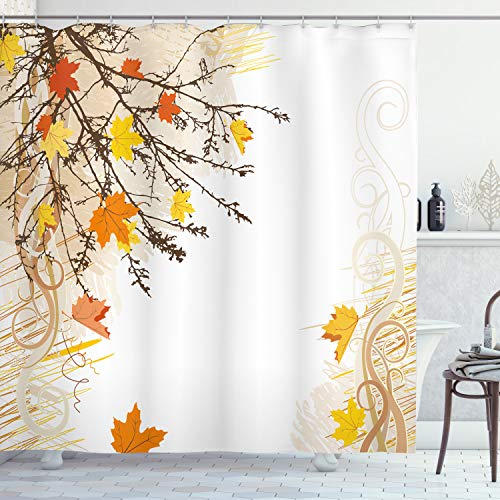 Ambesonne Nature Shower Curtain, Autumn Maple Leaves Branches in Fall Earthen Tones Faded Woodland Art Print, Cloth Fabric Bathroom Decor Set with Hooks, 70' Long, Tan Yellow