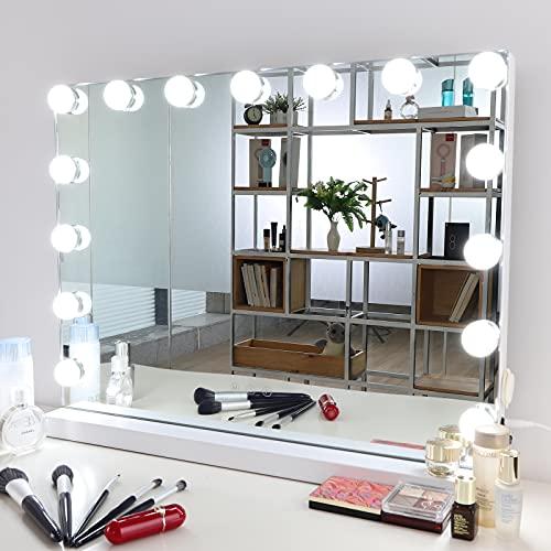 Meidom Hollywood Spiegel mit Beleuchtung, mit USB, 3 Farbtemperatur Licht Schminkspiegel mit 15 Dimmer-LED-Leuchten, Touch-Steuerung Kosmetikspiegel Hollywood-Stil, Weiß 58 x 46cm