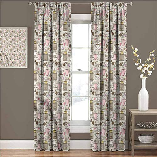 June Gissing Coffee Best Home Fashion Thermal Insulated Blackout Curtains Grinder Mill Cups and Beans 2 Panel Darkening Curtains W108 x L84