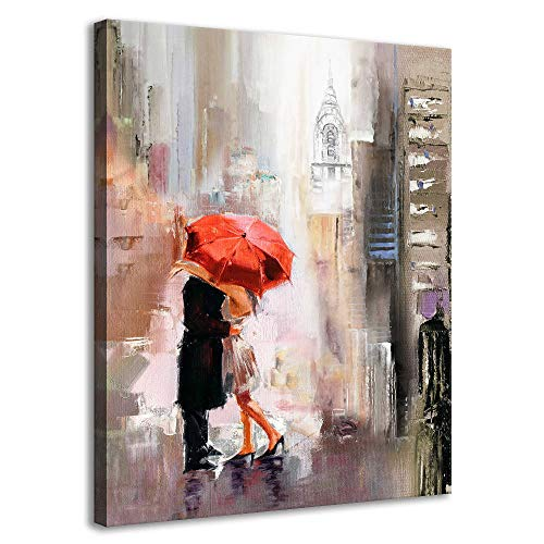Canvas Wall Art Modern New York Cityscape Large Romantic Canvas Painting Art Wall Decor Lovers Under Red Umbrella Street Scenery Framed Pictures for Living Room Bedroom Home Office Decoration