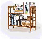 Estantería de estantería de madera 2 niveles de escritorio almacenamiento de almacenamiento ajustable almacenamiento multifuncional estantería de estantería de madera abierta organizador marrón