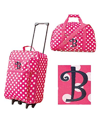 Girls' 3-Piece Monogram Luggage Set - Pink Polka Dots - Monogram Letter B