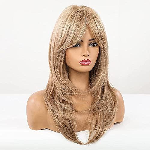 Pelucas sintéticas largas y rizadas con flequillo largo y rubio para mujeres con pelo rubio oscuro para mujeres niñas - marrón a amarillo