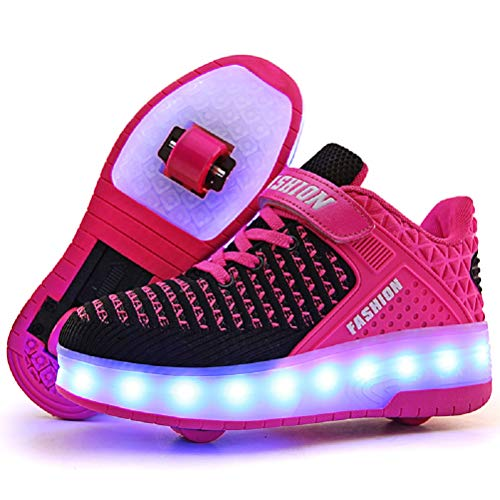 Ufatansy LED Shoes USB Charging Flashing Sneakers Light Up Roller Shoes Skates Sneakers with Wheels for Kids Girls Boys(4.5 M US =CN37, Double Wheels, Pink)