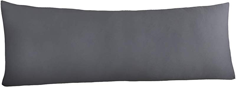 YAROO Microfiber Body Pillow Cover 21 X 54 Super Soft Body Pillowcase With Zipper And No Zipper Available Dark Gray With Zipper