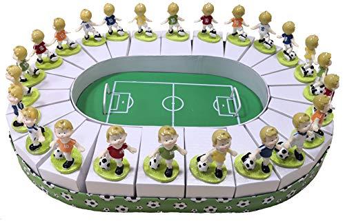 PuntoCasaStore Torta Stadio Campo Calcio 32x45 cm 24 scatoline e Calciatori H.6,5 cm portaconfetti BOMBONIERE