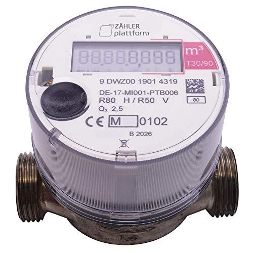 ZÄHLER plattform OMS Funk Wasserzähler Warm Qn 1,5, Baulänge 80 mm, Durchfluss 1/2 Zoll, Anschluss 3/4 Zoll Eichung 2020 Aufputzwasserzähler
