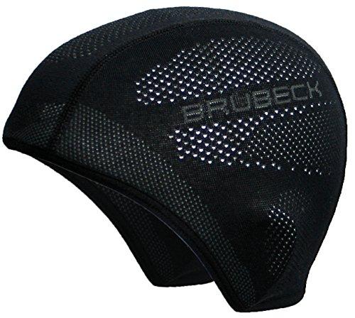 BRUBECK® HM10020A Funktions-Mütze/Halbe Sturmhaube | Temperaturregulierend | Funktional | Atmungsaktiv | Motorrad | Ski | Laufen | Antibakteriell | Anti-allergisch, Größe:S/M, Farbe:black