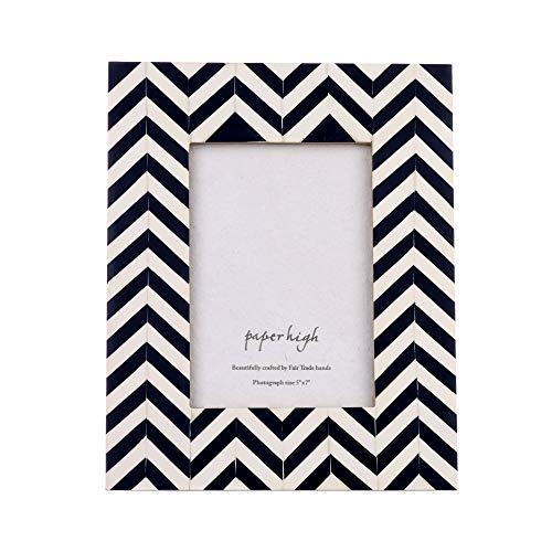 Paper High Bilderrahmen, aus nachhaltigem Mangoholz, 17,8 x 12,7 cm, Marineblau/Antik-Weiß