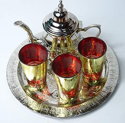 Kenta - Set da tè con motivo a quadretti, 25 cm, 3 bicchieri e teiera per 3 artigianali, colore: rosso