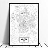 Leinwanddruck,Bristol Schwarz Weiß Benutzerdefinierte Welt
