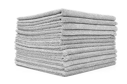The Rag Company - All-Purpose Microfiber Terry Cleaning Towels - Commercial Grade, Highly Absorbent, Lint-Free, Streak-Free, Kitchens, Bathrooms, Offices, 300gsm, 14in x 14in, Ice Grey (12-Pack)