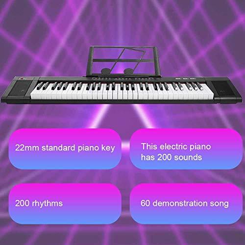 Instrumento musical electrónico de 61 teclas, tecla de piano estándar de 22 mm para principiantes, instrumento musical para dormitorio para el hogar