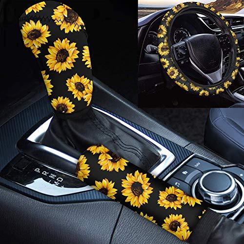 Woisttop Auto-Lenkradbezug mit Sonnenblumen-Aufdruck, dehnbarer Stoff, rutschfest und schweißabsorbierend, 35,6 - 38,1 cm, Überzug für Gangschaltung und Handbremse.