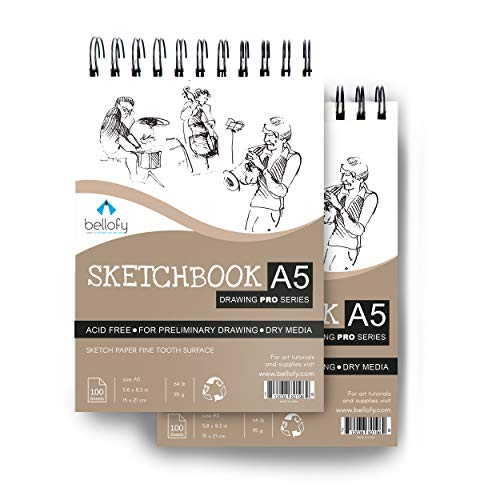 Bellofy 100 Sheet A5 Sketchbook Set of 2-5.8 x 8.3 Inch   64 IB 95 GSM   Top Spiral-Bound Sketchpad for Artists   Sketching and Drawing Acid Free Paper