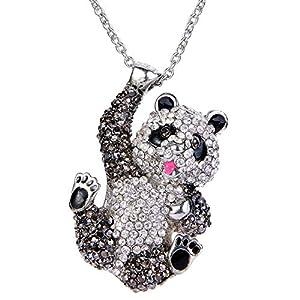 EVER FAITH Austrian Crystal Lovely Panda Pendant Necklace