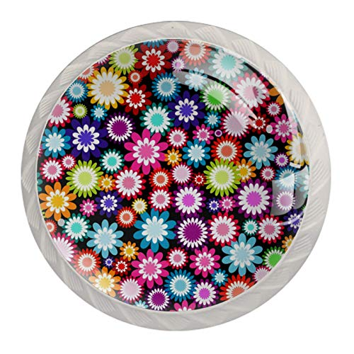 4 tiradores de puerta de cajón, manilla de armario, diseño de flores multicolor