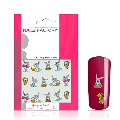 N&BF Nagelsticker Rabbit | Nagelaufkleber für Gel und Acryl Nägel | Nail Tattoo Hase Motiv | Nail Sticker bunt | Nailart Nagel Transfersticker | Made in EU
