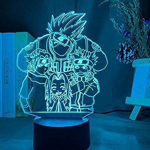 3D Night Light for Kids Anime Naruto Uzumaki Kids Led Night Light Team 7 Kakashi Hatake Child Bedroom Decor Colorful Nightlight Sasuke Uchiha 3D Lamp for Kids Bedroom Home Decor HYKK