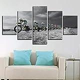 ADKMC Cuadros Modernos Impresión de Imagen Artística Digitalizada   Lienzo Decorativo para Tu Salón o Dormitorio   Ciclismo Carrera Bicicleta Lluvia   5 Piezas 200x100cm(Sin Marco)