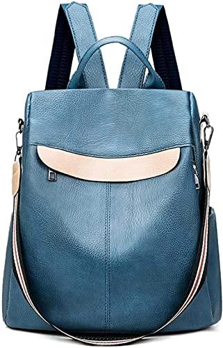 XIAOZHANG Mochilas de Mujer Piel auténtica, Bolso Mochila Mujer Cuero Genuino Mochila Escolares Viaje Moda Mochilas Tipo Casu -Un tamaño_648 azul