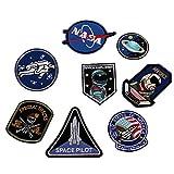 XUNHUI ワッペンNASA宇宙飛行士人工衛星宇宙船アップリケアパレル服刺繍手作り手芸 8枚