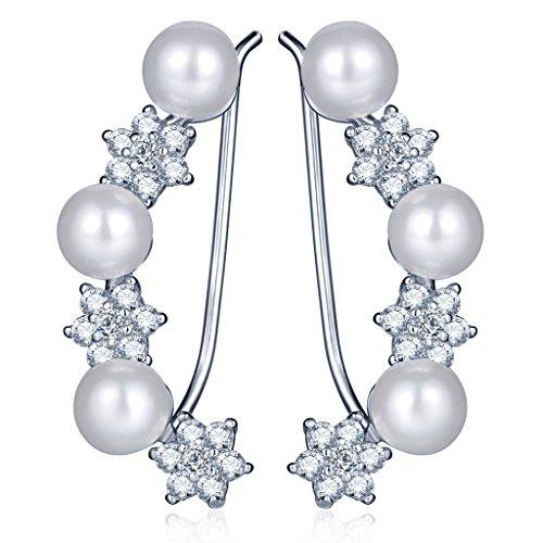 Infinite U, orecchini in elegante argento Sterling 925con zirconi, perle e stelle. Orecchini a cerchio per donne e ragazze