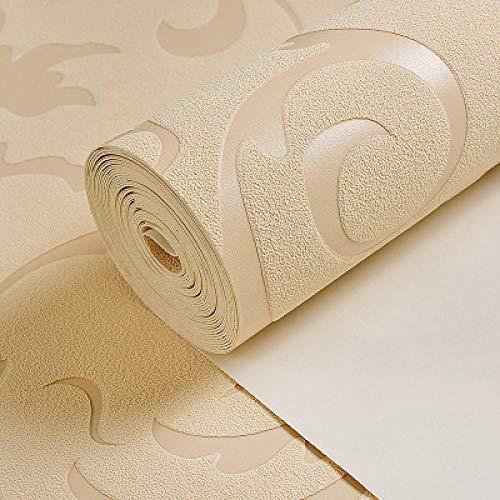 Elegante dicke Tapete 3d Stereo Tapete moderne minimalistische Schlafzimmer Wohnzimmer Film TV Hintergrund Tapete-Creme Farbe