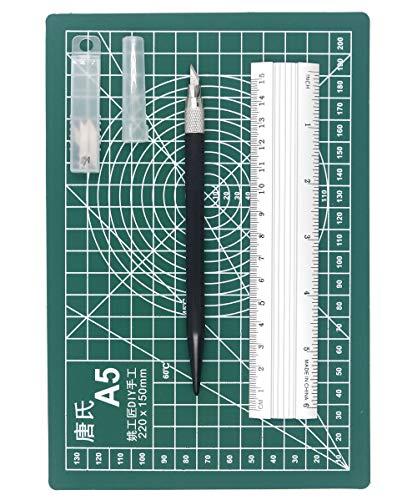 カッターマット 標準A5 アートナイフ 替刃12枚入り 定規 3点セット 切り絵 プラモデル工具