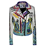 Women's Print Faux Leather Studded Graffiti Look Punk Biker Moto Jacket with Patches (M, White)