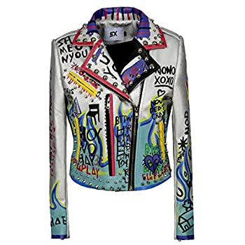 Women s Print Faux Leather Studded Graffiti Look Punk Biker Moto Jacket with Patches  S White