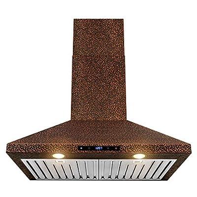 AKDY Wall Mount Range Hood - Embossed Copper Hood Fan for Kitchen - 4-Speed Professional Quiet Motor - Premium Touch Control Panel - Elegant Design - Dishwasher Safe Baffle Filters